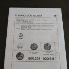 Herramientas de relojes: EBAUCHES SA COMUNICACIÓN TÉCNICA 35. Lote 155466430