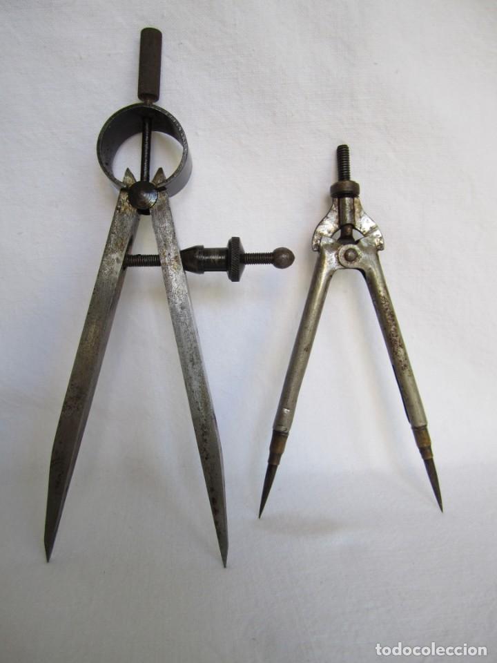Herramientas de relojes: 214-antiguos compases de medición y comparación de relojero - Foto 2 - 158985250