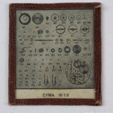Herramientas de relojes: PEQUEÑA LAMINA CON PIEZAS RELOJ CYMA 10 1/2. 9 X 8 CM.. Lote 159607806