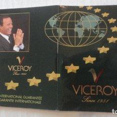 Herramientas de relojes: ANTIGUO CERTIFICADO DE GARANTIA INTERNACIONAL.RELOJ VICEROY.JULIO IGLESIAS. Lote 169767268
