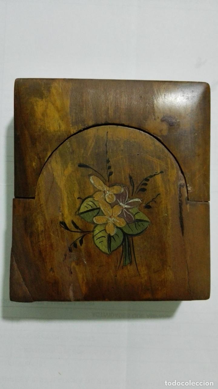 Herramientas de relojes: EXPOSITOR RELOJ DE BOLSILLO, MADERA CON PINTURA FLORAL - Foto 2 - 182795451