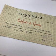 Herramientas de relojes: CERTIFICADO DE GARANTÍA 1963 RELOJ FESTINA DE ORO. Lote 182953525