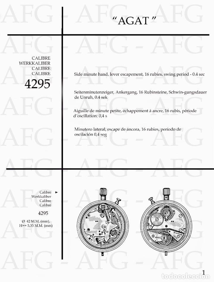 MANUAL DE REFERENCIAS Y DESPIECE DE: AGAT - CALIBRE 4295 - 6 PAGINAS (Relojes - Herramientas y Útiles de Relojero )