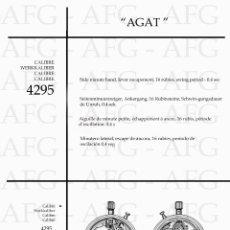 Herramientas de relojes: MANUAL DE REFERENCIAS Y DESPIECE DE: AGAT - CALIBRE 4295 - 6 PAGINAS. Lote 186296265
