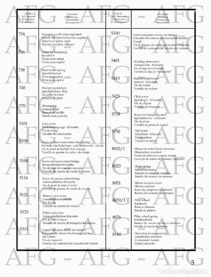 Herramientas de relojes: MANUAL DE REFERENCIAS Y DESPIECE DE: AGAT - CALIBRE 4295 - 6 PAGINAS - Foto 3 - 186296265