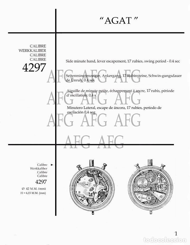 MANUAL DE REFERENCIAS Y DESPIECE DE: AGAT - CALIBRE 4297 - 7 PAGINAS (Relojes - Herramientas y Útiles de Relojero )