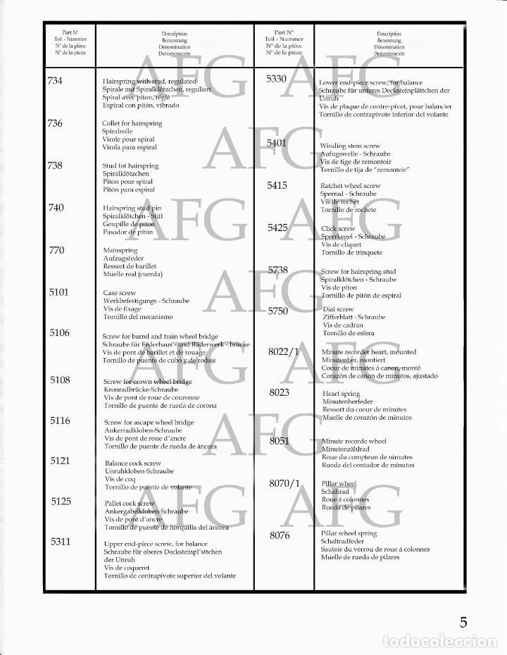 Herramientas de relojes: MANUAL DE REFERENCIAS Y DESPIECE DE: AGAT - CALIBRE 4297 - 7 PAGINAS - Foto 3 - 186431553