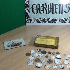 Herramientas de relojes: BOTITA CAJA ANTIGUA CON UN LOTE DE RARAS Y CURIOSAS ESFERAS DE RELOJ. Lote 188516911