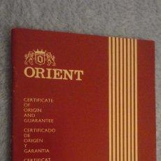 Herramientas de relojes: ANTIGUO CERTIFICADO GARANTIA.RELOJ ORIENT WATCH CO.JAPAN.LAS PALMAS GRAN CANARIA 1977. Lote 190640092