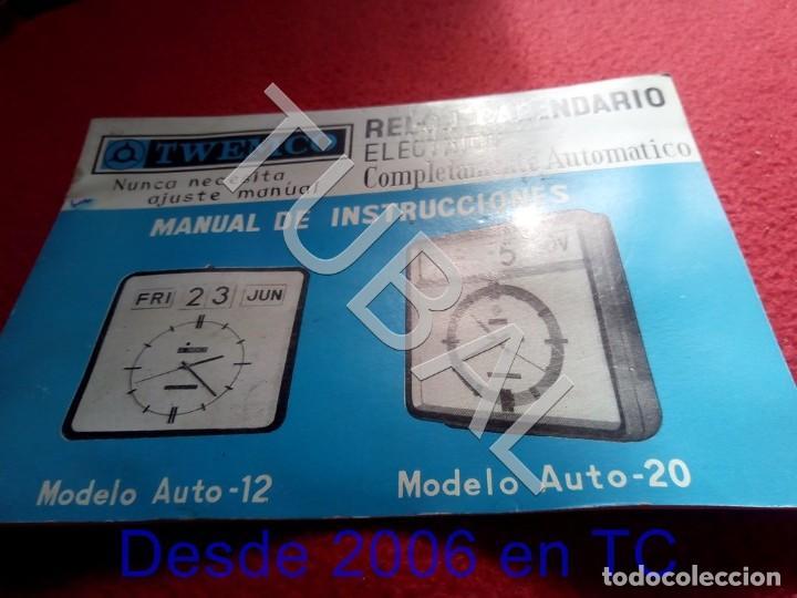 TUBAL TWENCO RELOJ CALENDARIO ELECTRICO MANUAL DE INSTRUCCIONES U23 (Relojes - Herramientas y Útiles de Relojero )