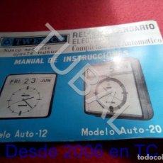 Herramientas de relojes: TUBAL TWENCO RELOJ CALENDARIO ELECTRICO MANUAL DE INSTRUCCIONES U23. Lote 194717403