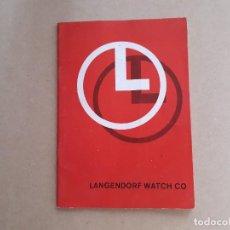 Herramientas de relojes: CATÁLOGO LANGENDORF - LÁMINAS TÉCNICAS. Lote 206956888