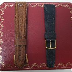 Herramientas de relojes: 2 PULSERAS DE PIEL AUTENTICA TALLA 18 NUEVAS. Lote 235506065