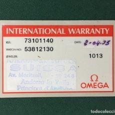 Herramientas de relojes: TARJETA INTERNATIONAL WARRANTY DE RELOJ OMEGA. Lote 245445580