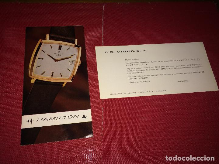 CATÁLOGO DE RELOJES HAMILTON - SUIZA - AÑOS 60/70 Y TARJETA COMERCIAL - VALENCIA (Relojes - Herramientas y Útiles de Relojero )