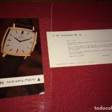 Outils d'horloger: CATÁLOGO DE RELOJES HAMILTON - SUIZA - AÑOS 60/70 Y TARJETA COMERCIAL - VALENCIA. Lote 266351283