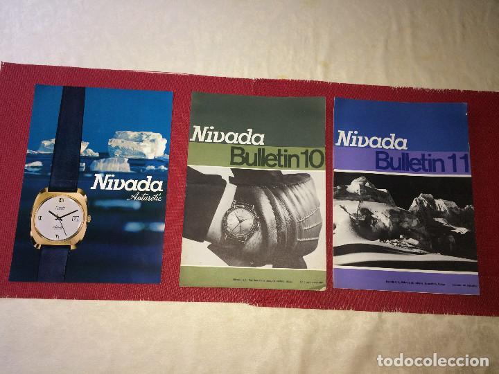 RELOJES NIVADA - SUIZA - HOJA PUBLICITARIA Y 2 REVISTAS BOLETINES - FINALES AÑO 60 (Relojes - Herramientas y Útiles de Relojero )