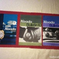Outils d'horloger: RELOJES NIVADA - SUIZA - HOJA PUBLICITARIA Y 2 REVISTAS BOLETINES - FINALES AÑO 60. Lote 266576808