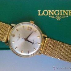 Relojes - Longines: RELOJ CABALLERO LONGINES EN ORO DE 18K. 24 JEWELS SWISS CON CALENDARIO DE 81,5GR. Y 20CM LARGO. Lote 52554394
