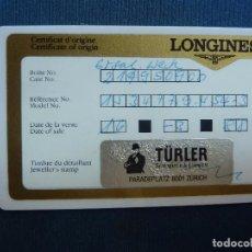 Relojes - Longines: LONGINES. CERTIFICADO DE GARANTÍA. TÜRLER. Lote 95533047