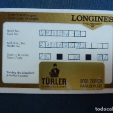 Relojes - Longines: LONGINES. CERTIFICADO DE GARANTÍA. TÜRLER . Lote 95533347