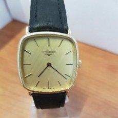 Relojes - Longines: RELOJ CABALLERO (VINTAGE) LONGINES DE CUERDA MANUAL CHAPADO DE ORO, CORREA DE CUERO NEGRA SIN USO . Lote 114351243