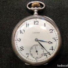 Relojes - Longines: ANTIGUO RELOJ DE BOLSILLO DE PLATA MARCA LONGINES. REPASADO Y FUNCIONANDO. Lote 132087586