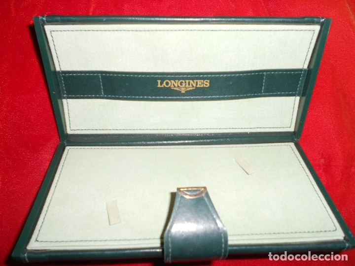 CAJA ESTUCHE ORIGINAL DE LUJO RELOJ LONGINES AÑOS 80 EN PERFECTO ESTADO TODO PIEL COLOR VERDE (Relojes - Relojes Actuales - Longines)