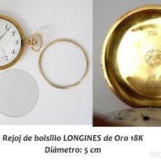 Relojes - Longines: RELOJ LONGINES DE BOLSILLO DE ORO DE 18 K DE CARGA MANUAL. DIÁMETRO 50 MM. Lote 178341702
