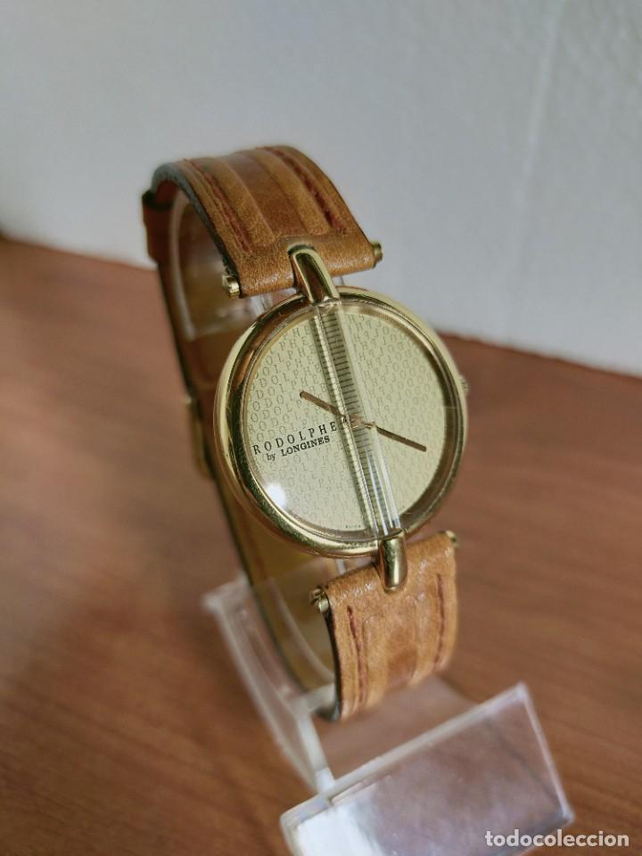 Relojes - Longines: Reloj unisex LONGINES RODOLPHE chapado de oro, esfera color champan, correa de cuero marrón. - Foto 2 - 213384307