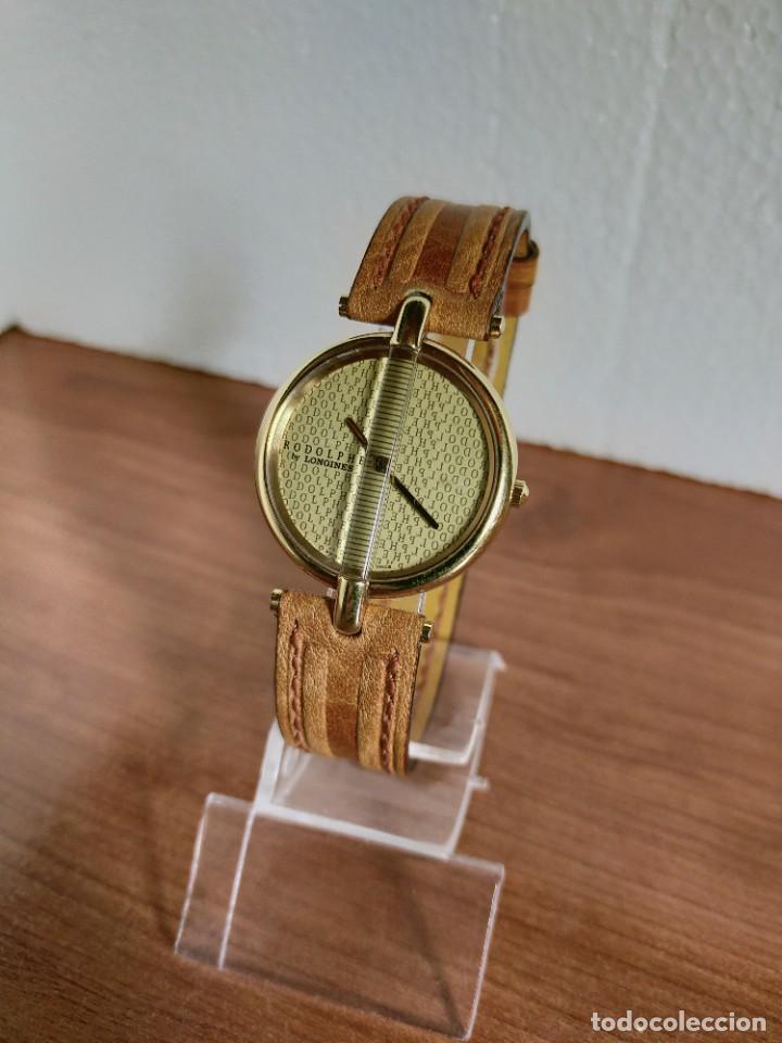Relojes - Longines: Reloj unisex LONGINES RODOLPHE chapado de oro, esfera color champan, correa de cuero marrón. - Foto 3 - 213384307