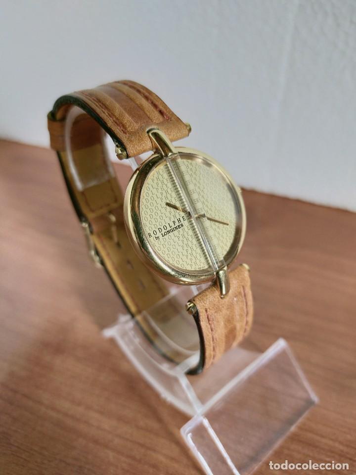 Relojes - Longines: Reloj unisex LONGINES RODOLPHE chapado de oro, esfera color champan, correa de cuero marrón. - Foto 4 - 213384307