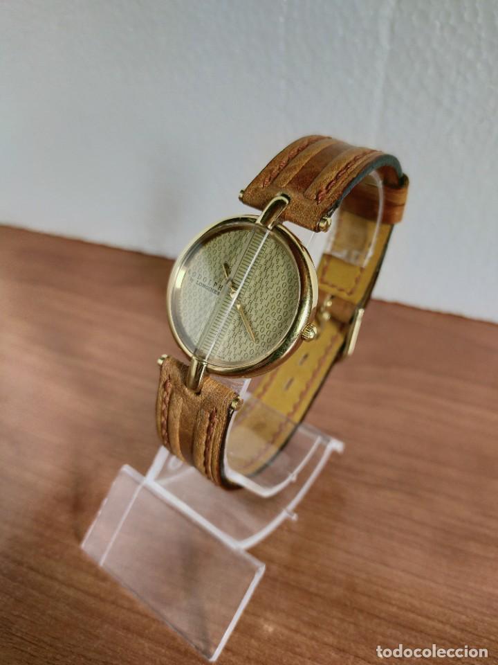 Relojes - Longines: Reloj unisex LONGINES RODOLPHE chapado de oro, esfera color champan, correa de cuero marrón. - Foto 11 - 213384307