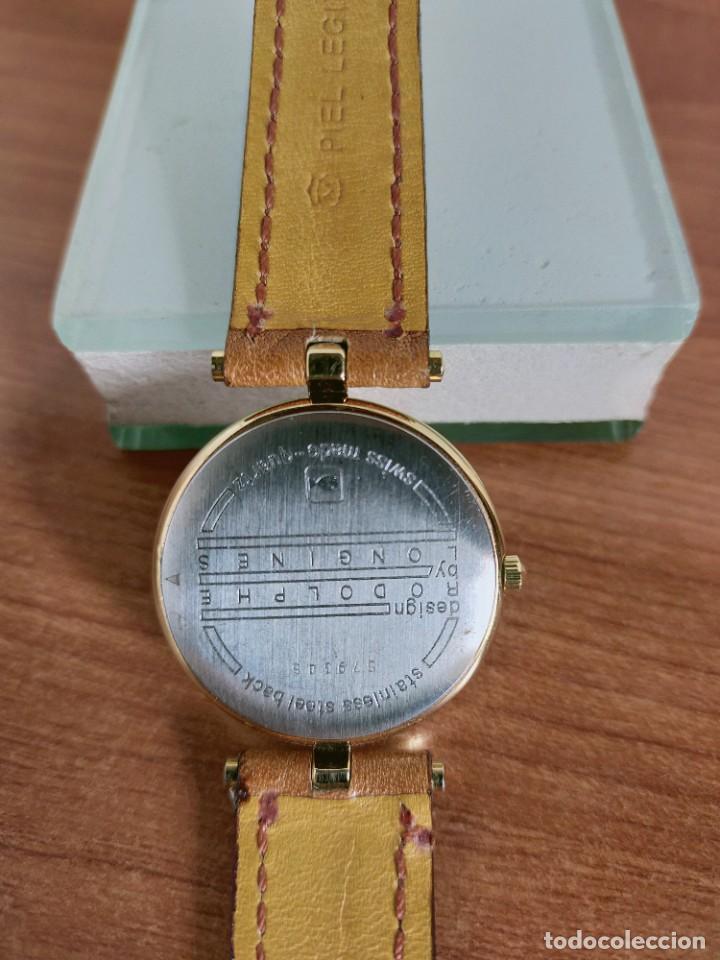 Relojes - Longines: Reloj unisex LONGINES RODOLPHE chapado de oro, esfera color champan, correa de cuero marrón. - Foto 14 - 213384307