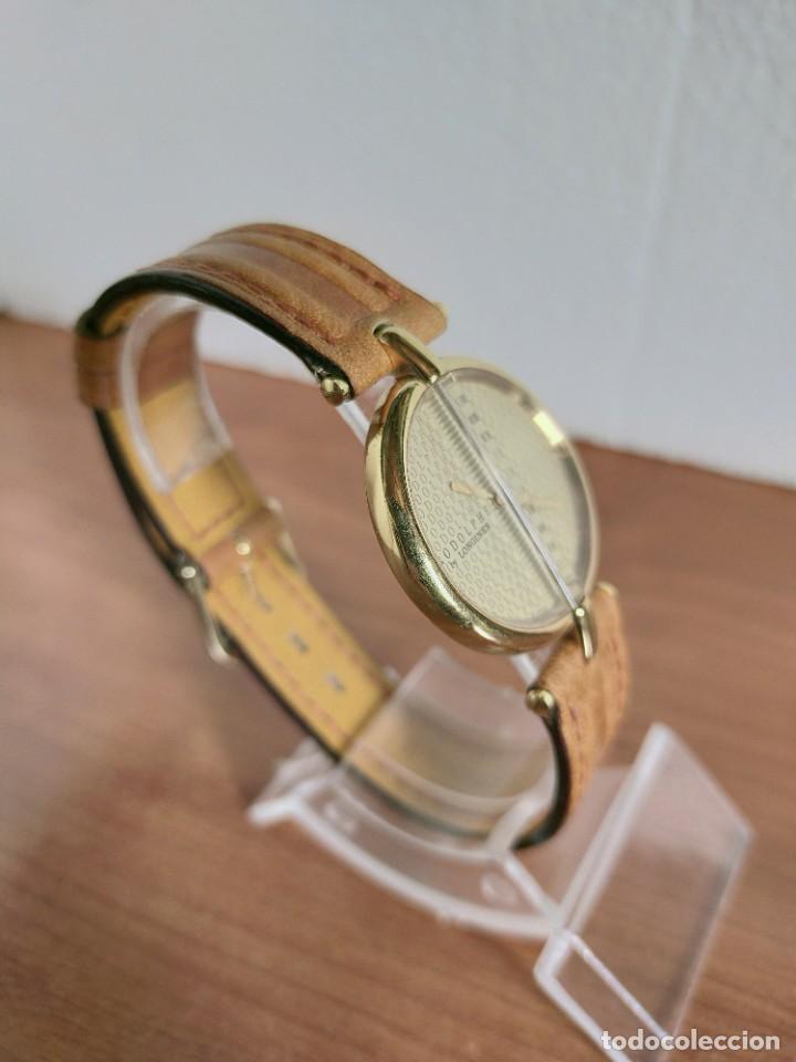 Relojes - Longines: Reloj unisex LONGINES RODOLPHE chapado de oro, esfera color champan, correa de cuero marrón. - Foto 15 - 213384307