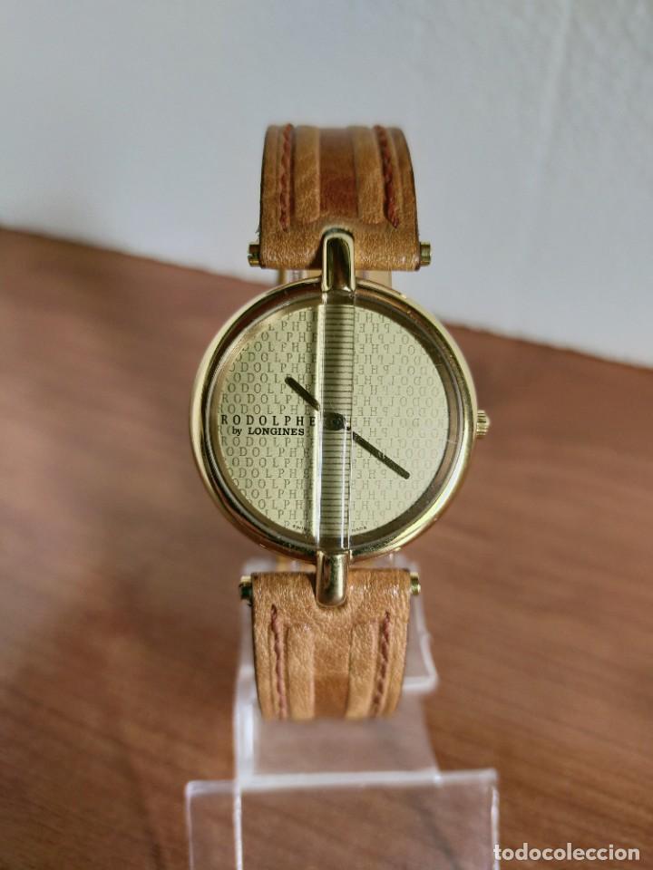Relojes - Longines: Reloj unisex LONGINES RODOLPHE chapado de oro, esfera color champan, correa de cuero marrón. - Foto 16 - 213384307