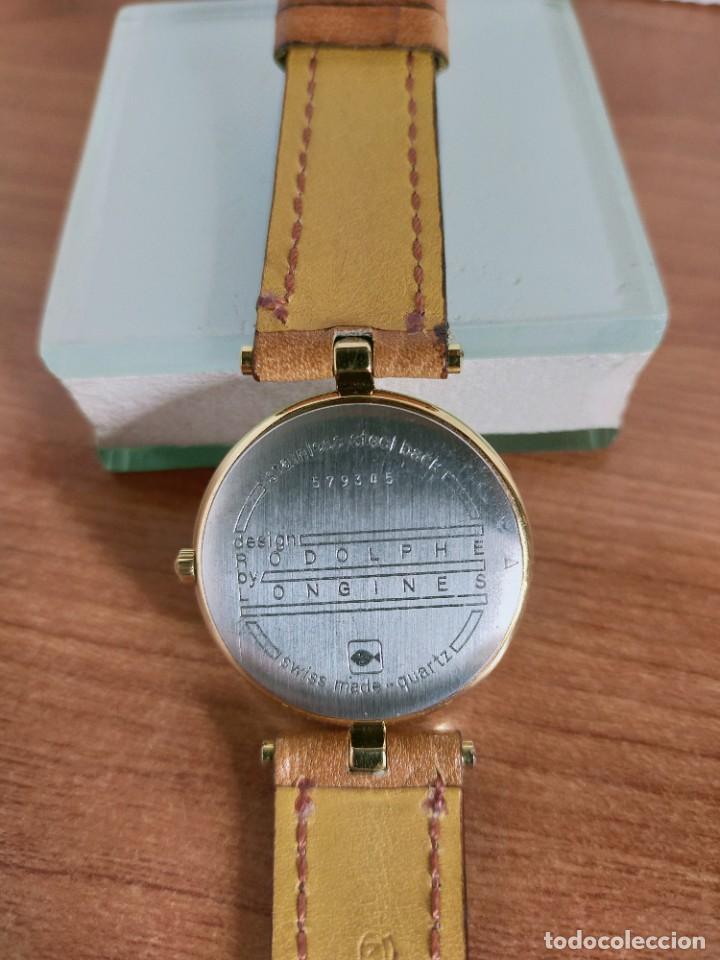 Relojes - Longines: Reloj unisex LONGINES RODOLPHE chapado de oro, esfera color champan, correa de cuero marrón. - Foto 17 - 213384307
