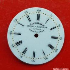 Relojes - Longines: LONGINES DE CUERVO Y SOBRINOS UNICOS IMPORTADORES ESMALTE PERFECTO ESTADO. Lote 225303775