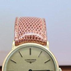 Relojes - Longines: RELOJ CABALLERO (VINTAGE) LONGINES CUARZO CHAPADO ORO, ESFERA COLOR CHAMPAN, CORREA DE CUERO MARRÓN.. Lote 280216608