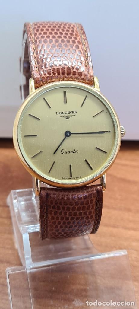 Relojes - Longines: Reloj caballero (Vintage) LONGINES cuarzo chapado oro, esfera color champan, correa de cuero marrón. - Foto 2 - 280216608
