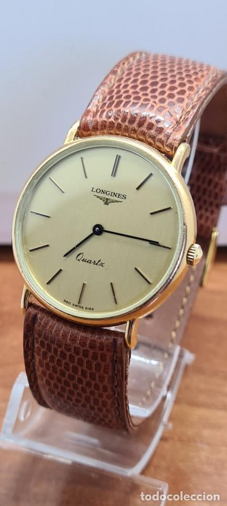 Relojes - Longines: Reloj caballero (Vintage) LONGINES cuarzo chapado oro, esfera color champan, correa de cuero marrón. - Foto 3 - 280216608