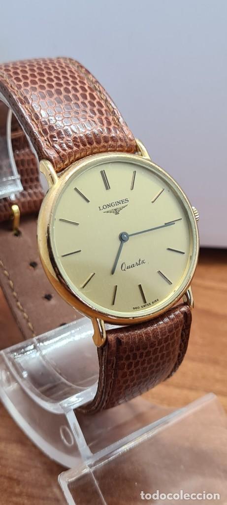 Relojes - Longines: Reloj caballero (Vintage) LONGINES cuarzo chapado oro, esfera color champan, correa de cuero marrón. - Foto 5 - 280216608