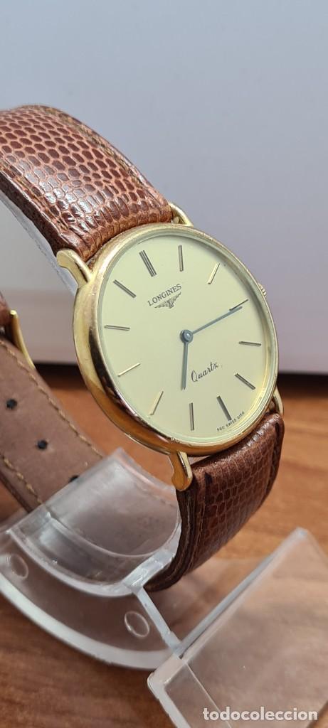 Relojes - Longines: Reloj caballero (Vintage) LONGINES cuarzo chapado oro, esfera color champan, correa de cuero marrón. - Foto 7 - 280216608