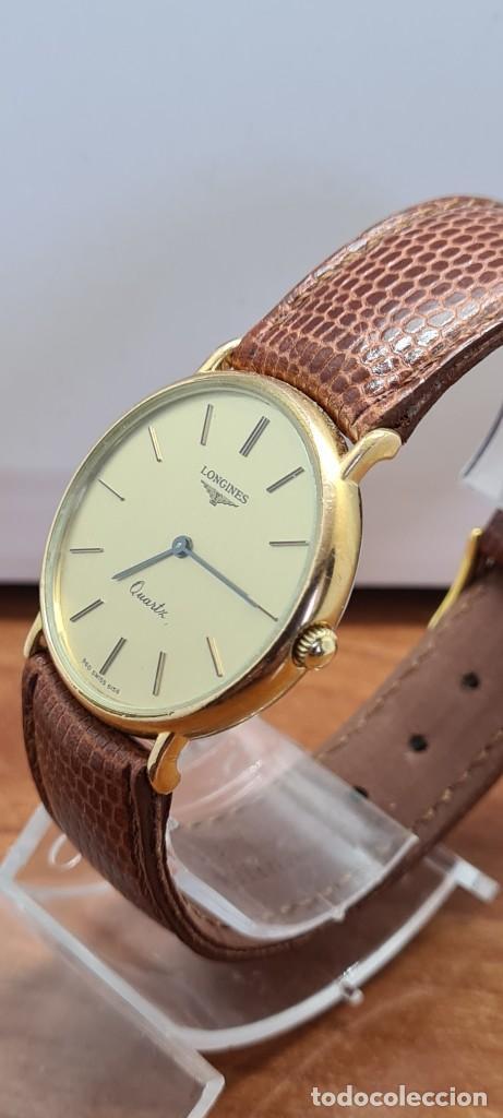Relojes - Longines: Reloj caballero (Vintage) LONGINES cuarzo chapado oro, esfera color champan, correa de cuero marrón. - Foto 8 - 280216608