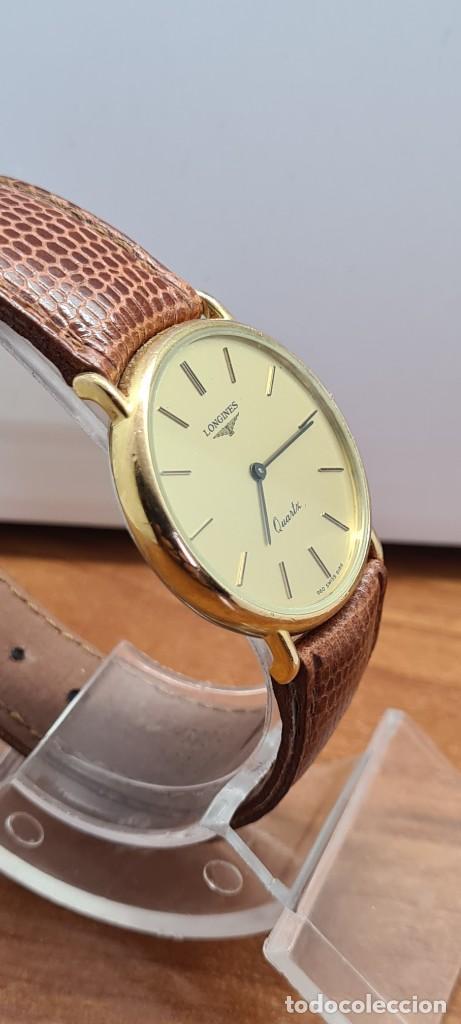 Relojes - Longines: Reloj caballero (Vintage) LONGINES cuarzo chapado oro, esfera color champan, correa de cuero marrón. - Foto 9 - 280216608