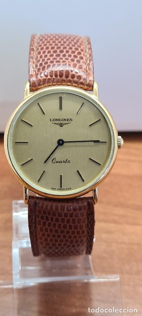 Relojes - Longines: Reloj caballero (Vintage) LONGINES cuarzo chapado oro, esfera color champan, correa de cuero marrón. - Foto 10 - 280216608