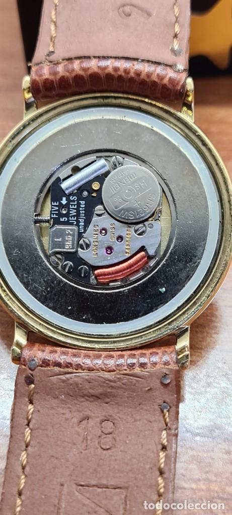 Relojes - Longines: Reloj caballero (Vintage) LONGINES cuarzo chapado oro, esfera color champan, correa de cuero marrón. - Foto 12 - 280216608