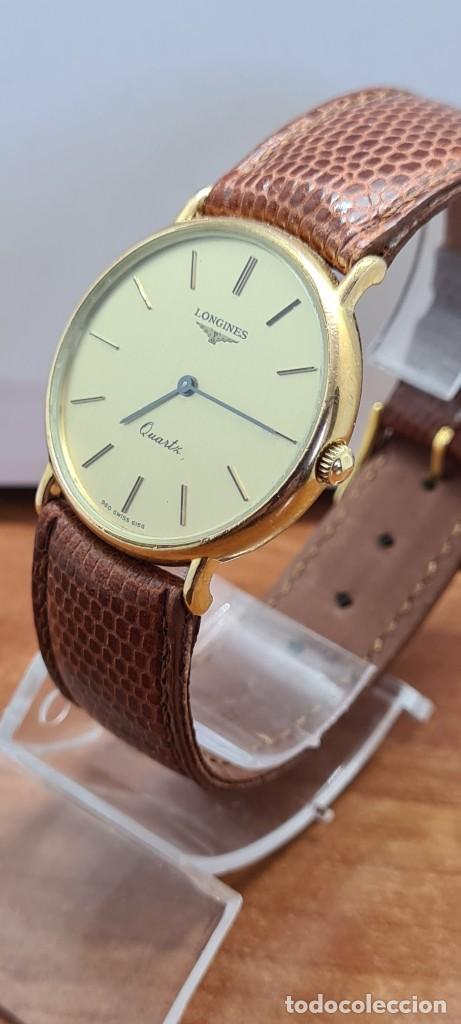 Relojes - Longines: Reloj caballero (Vintage) LONGINES cuarzo chapado oro, esfera color champan, correa de cuero marrón. - Foto 14 - 280216608