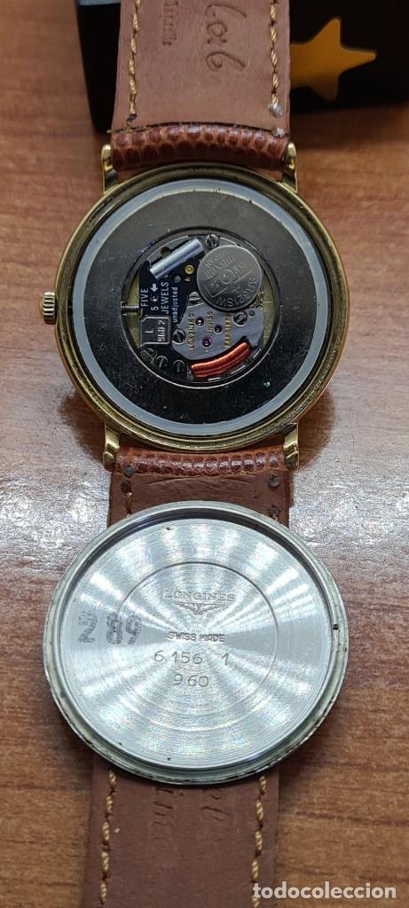 Relojes - Longines: Reloj caballero (Vintage) LONGINES cuarzo chapado oro, esfera color champan, correa de cuero marrón. - Foto 15 - 280216608