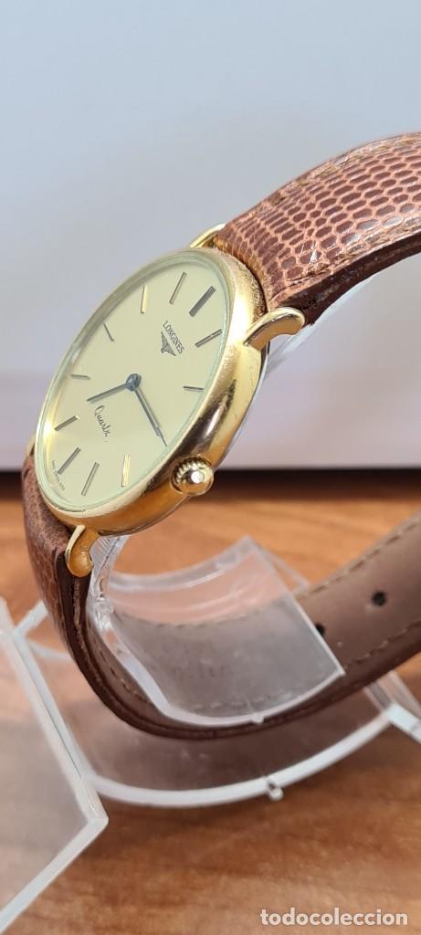 Relojes - Longines: Reloj caballero (Vintage) LONGINES cuarzo chapado oro, esfera color champan, correa de cuero marrón. - Foto 16 - 280216608
